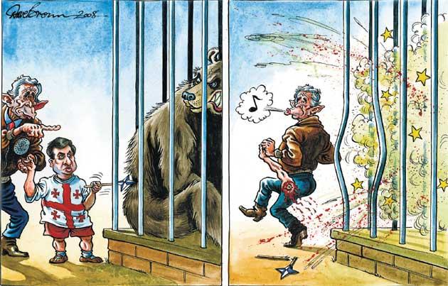 карикатура: Бушь, Грузия и Россия