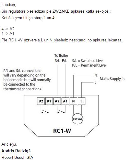 heatmiser - схема подключения